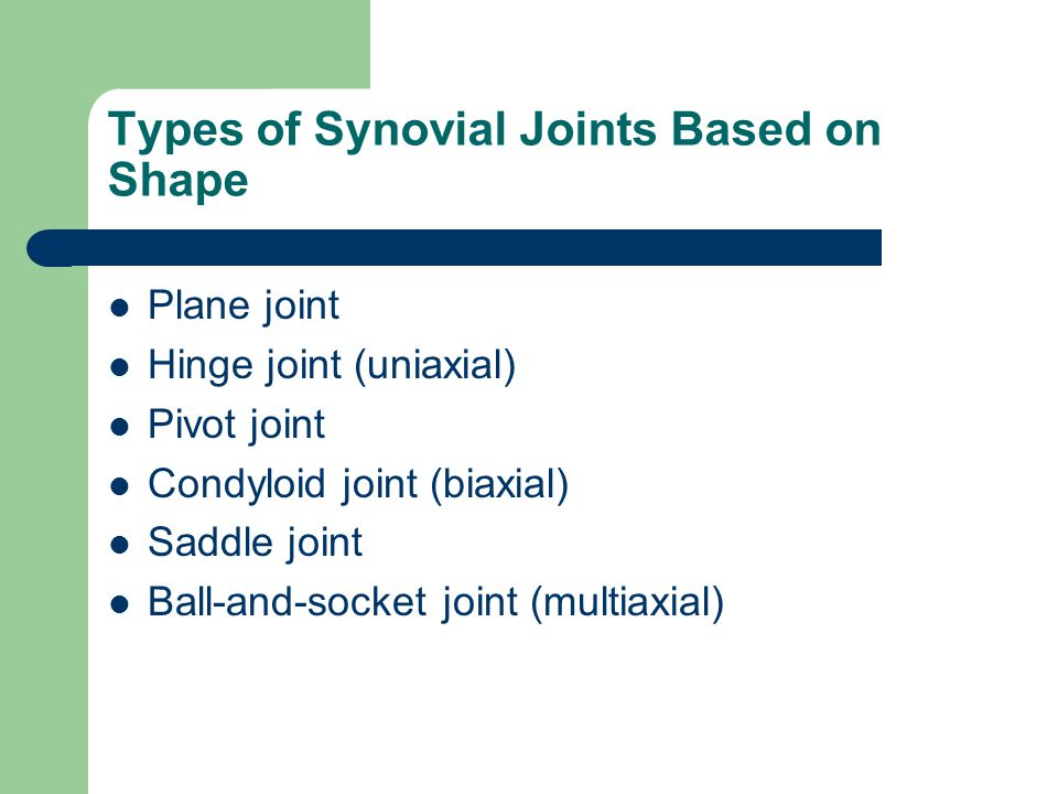 Plane Joint Articular surfaces are flat Short slipping or sliding movements Intercarpal and intertarsal joints http://www.shockfamily.net/skeleton/GLIDING.JPG