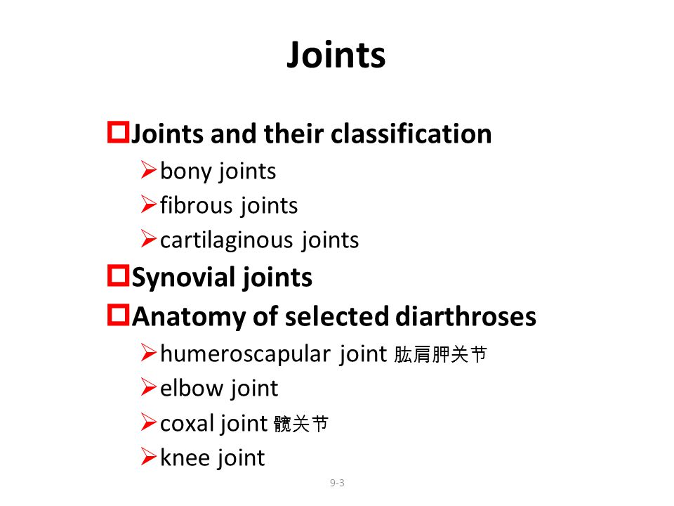 9-14 General Anatomy  Articular capsule encloses joint cavity  continuous with periosteum ( 骨膜 )  lined by synovial membrane  Synovial fluid = slippery fluid; feeds cartilages  Articular cartilage = hyaline cartilage covering the joint surfaces  Articular discs and menisci ( 半月板 )  jaw, wrist, sternoclavicular and knee joints  absorbs shock, guides bone movements and distributes forces  Tendon attaches muscle to bone  Ligament attaches bone to bone