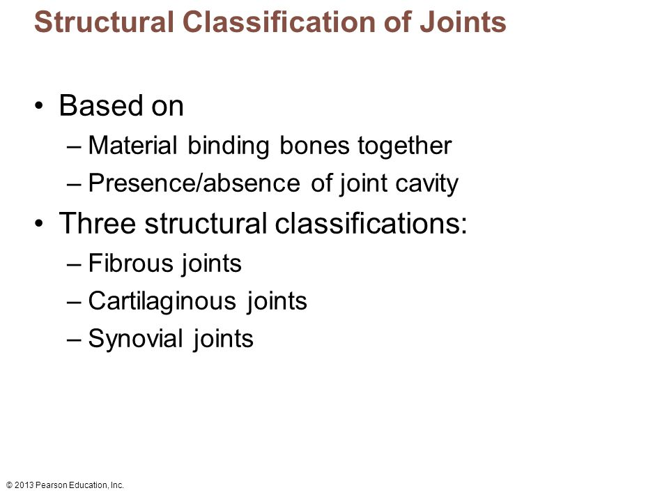 © 2013 Pearson Education, Inc. Structural Classification of Joints Based on –Material binding bones together –Presence/absence of joint cavity Three s
