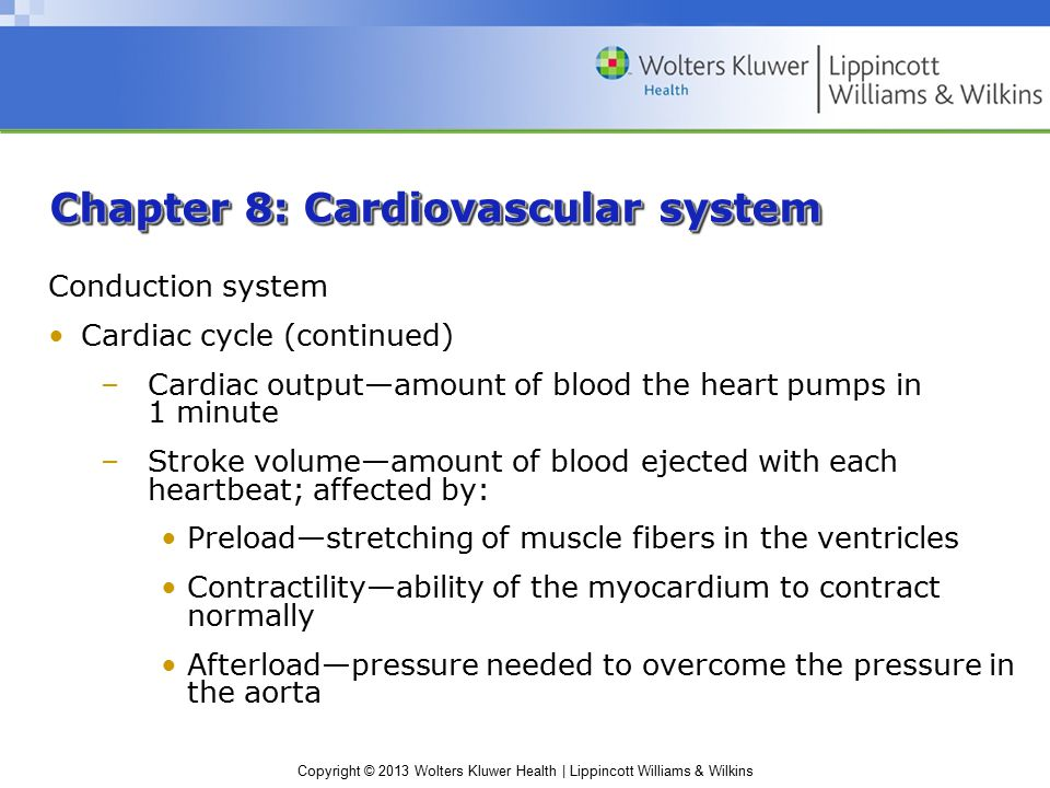 Copyright © 2013 Wolters Kluwer Health | Lippincott Williams & Wilkins Chapter 8: Cardiovascular system Conduction system Cardiac cycle (continued) –Cardiac output—amount of blood the heart pumps in 1 minute –Stroke volume—amount of blood ejected with each heartbeat; affected by: Preload—stretching of muscle fibers in the ventricles Contractility—ability of the myocardium to contract normally Afterload—pressure needed to overcome the pressure in the aorta