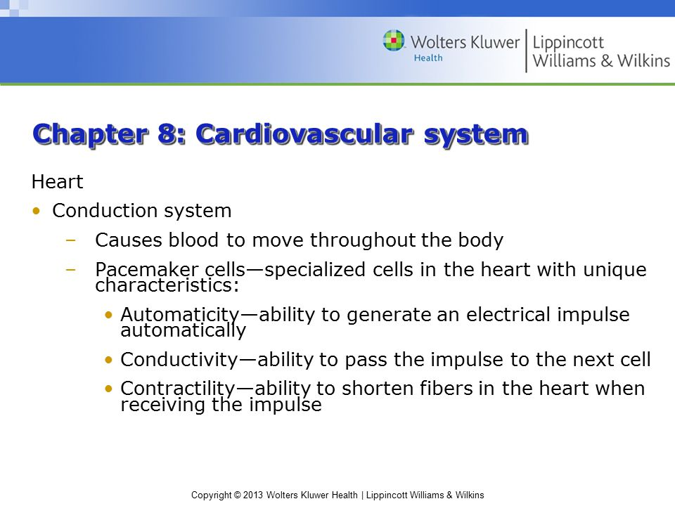 Chapter 8: Cardiovascular system Heart Conduction system –Causes blood to move throughout the body –Pacemaker cells—specialized cells in the heart with unique characteristics: Automaticity—ability to generate an electrical impulse automatically Conductivity—ability to pass the impulse to the next cell Contractility—ability to shorten fibers in the heart when receiving the impulse