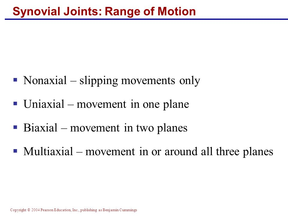 Copyright © 2004 Pearson Education, Inc., publishing as Benjamin Cummings Synovial Joints: Range of Motion  Nonaxial – slipping movements only  Unia