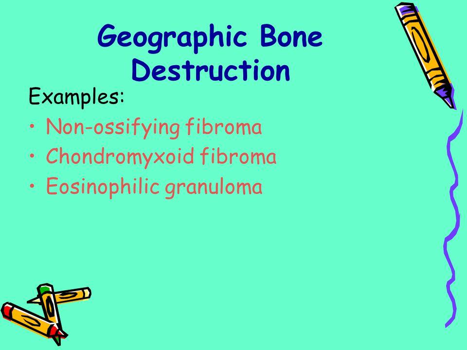 Geographic Bone Destruction Examples: Non-ossifying fibroma Chondromyxoid fibroma Eosinophilic granuloma