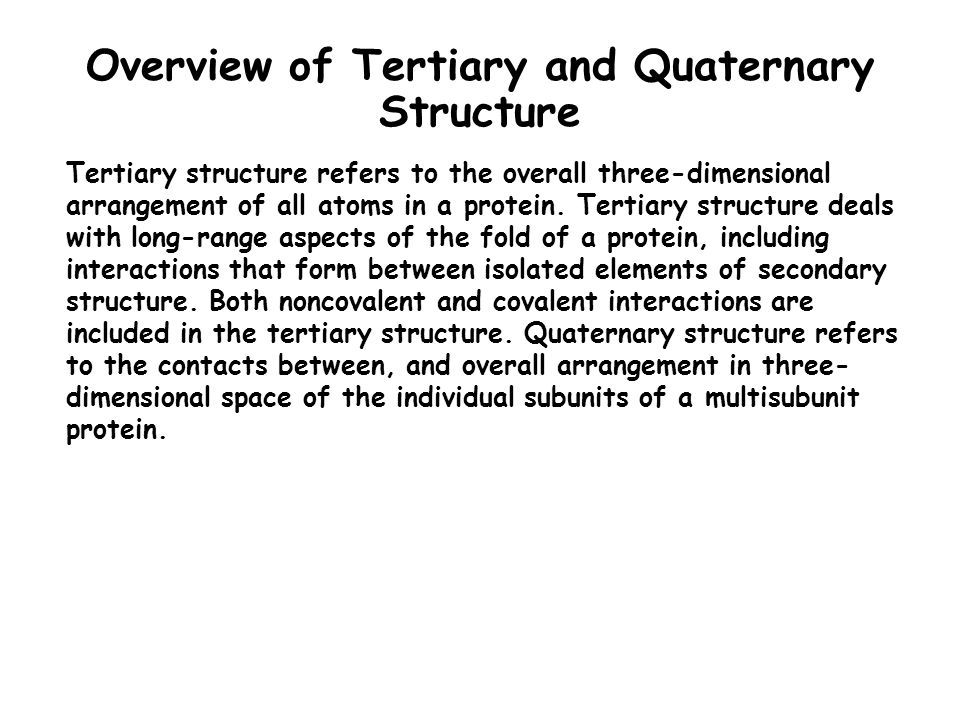 Overview of Tertiary and Quaternary Structure Tertiary structure refers to the overall three-dimensional arrangement of all atoms in a protein. Tertia