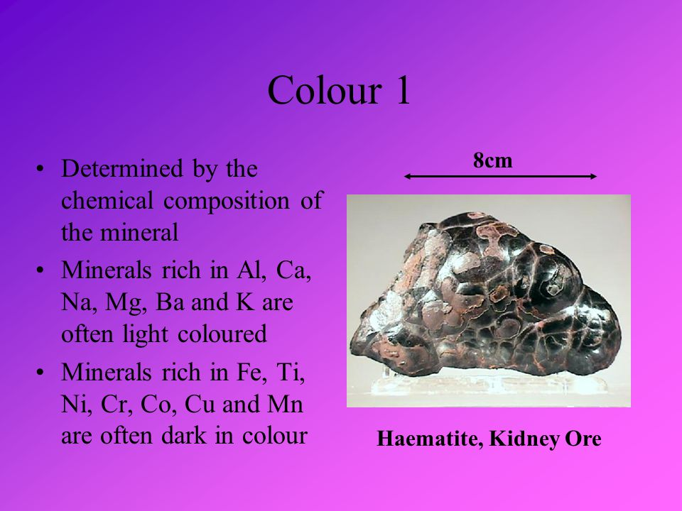 Colour 2 Determined by the atomic structure of the mineral Atomic structure controls which components of white light are absorbed or reflected White minerals reflect all components of white light Black minerals absorb all components of white light Green minerals reflect green light and absorb the others Pyrite Cubes with Striated Faces 5cm