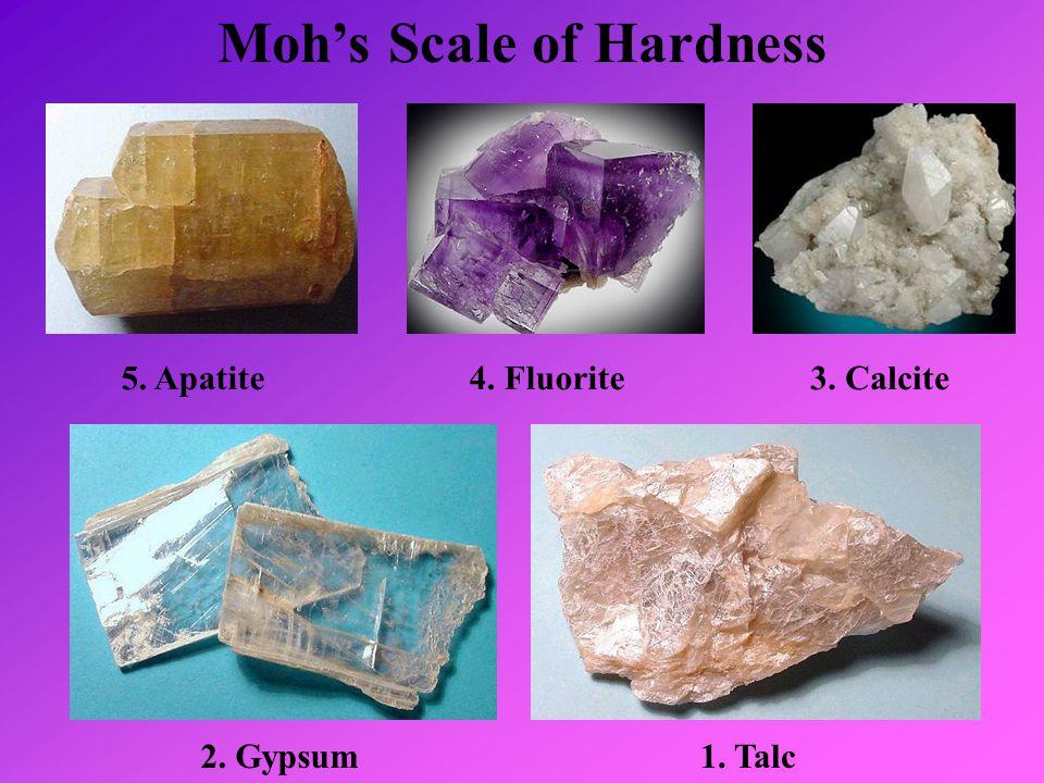 Moh's Scale of Hardness 5. Apatite4. Fluorite3. Calcite 2. Gypsum1. Talc