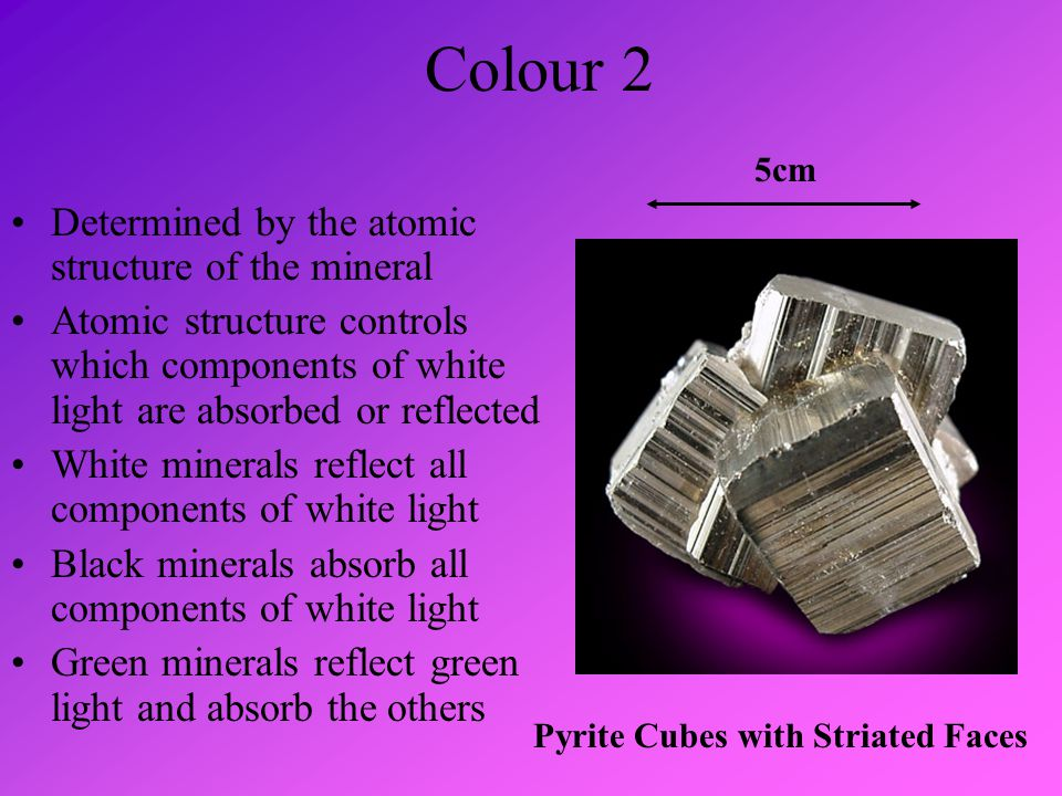 Form or Habit This refers to the common appearance of the mineral and varies from crystallised to amorphous or massive Amorphous Chalcopyrite Crystallised Iron Pyrite