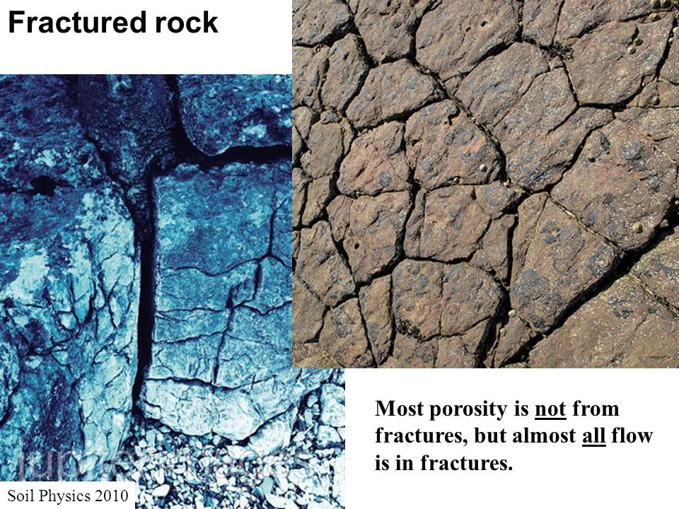Fractured rock Soil Physics 2010 Most porosity is not from fractures, but almost all flow is in fractures.