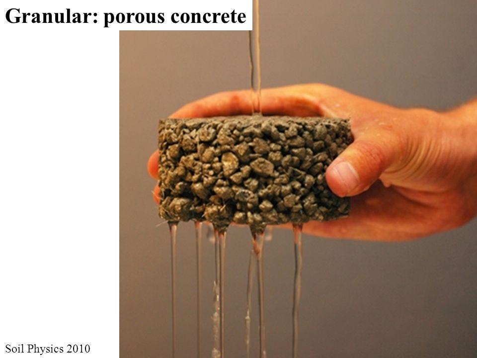 Granular: porous concrete Soil Physics 2010