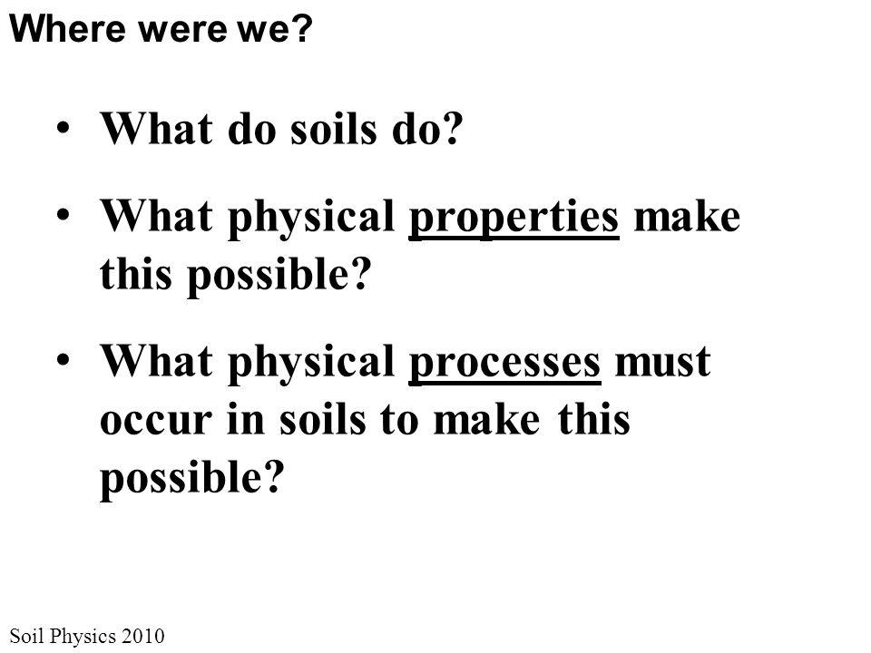 Soil Physics 2010 Where were we. What do soils do.