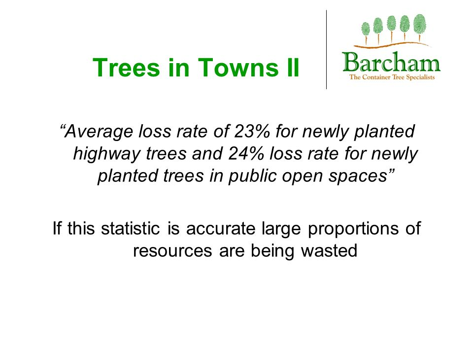 "Trees in Towns II ""Average loss rate of 23% for newly planted highway trees and 24% loss rate for newly planted trees in public open spaces"" If this s"