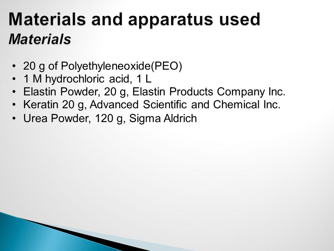 20 g of Polyethyleneoxide(PEO) 1 M hydrochloric acid, 1 L Elastin Powder, 20 g, Elastin Products Company Inc.