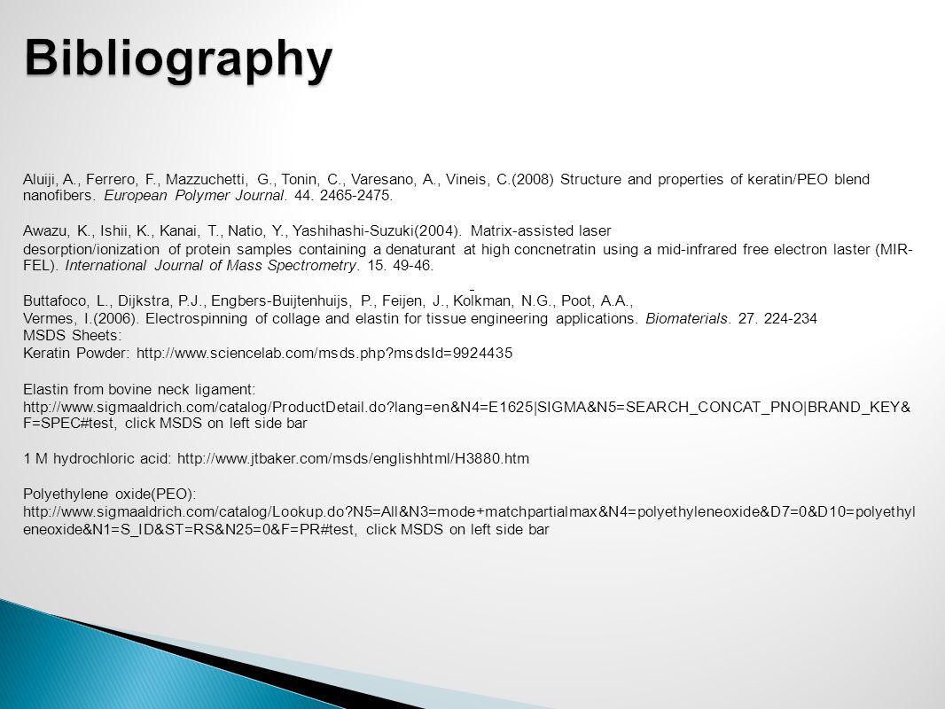 Aluiji, A., Ferrero, F., Mazzuchetti, G., Tonin, C., Varesano, A., Vineis, C.(2008) Structure and properties of keratin/PEO blend nanofibers.