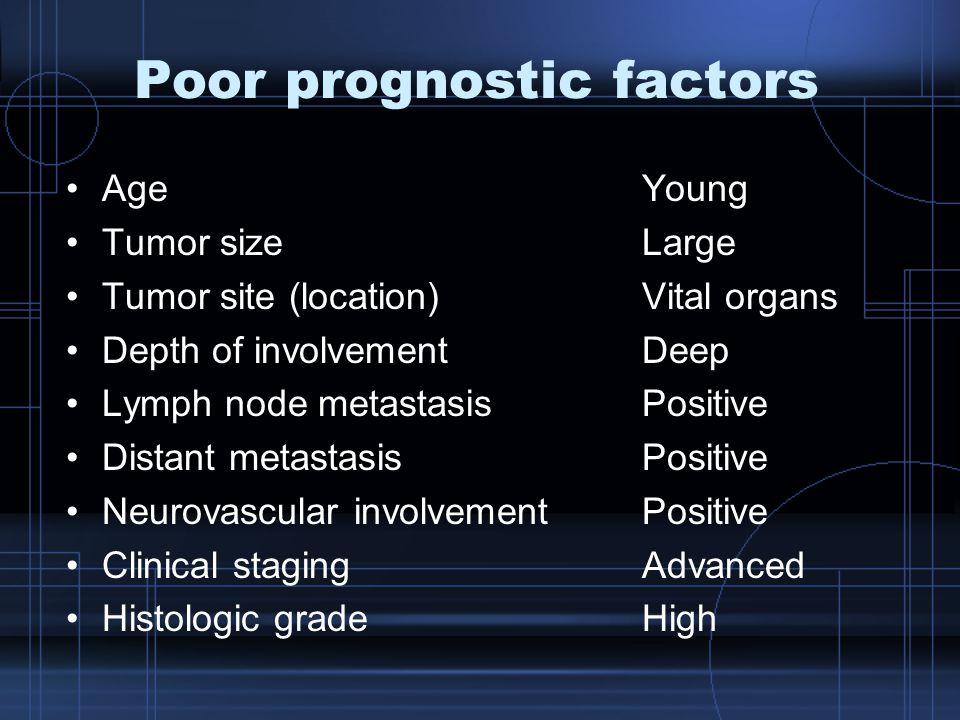 Poor prognostic factors AgeYoung Tumor sizeLarge Tumor site (location)Vital organs Depth of involvementDeep Lymph node metastasisPositive Distant meta