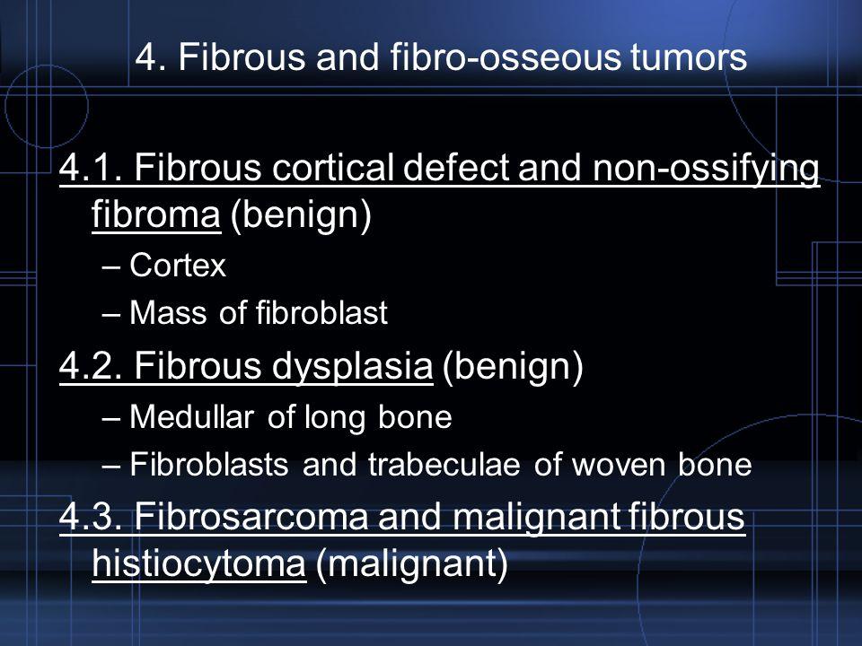 4. Fibrous and fibro-osseous tumors 4.1. Fibrous cortical defect and non-ossifying fibroma (benign) –Cortex –Mass of fibroblast 4.2. Fibrous dysplasia