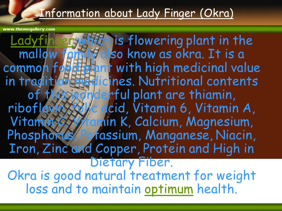www.themegallery.com Information about Lady Finger (Okra) LadyfingerLadyfinger which is flowering plant in the mallow family also know as okra. It is