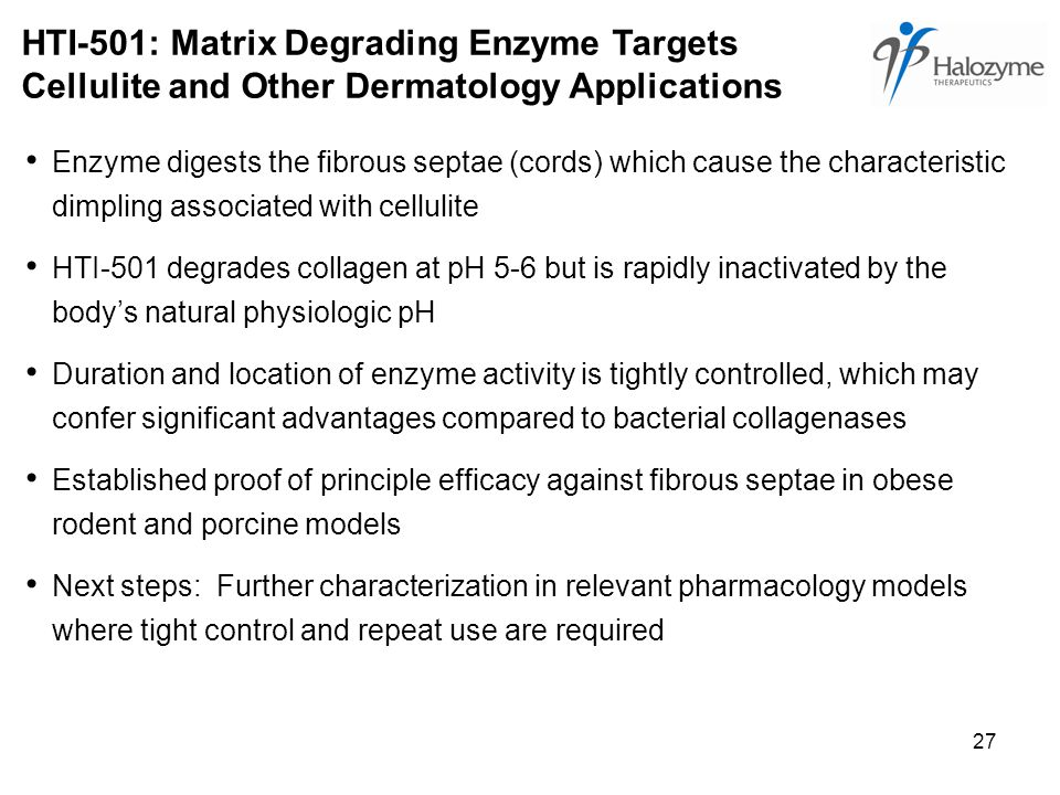 27 HTI-501: Matrix Degrading Enzyme Targets Cellulite and Other Dermatology Applications Enzyme digests the fibrous septae (cords) which cause the characteristic dimpling associated with cellulite HTI-501 degrades collagen at pH 5-6 but is rapidly inactivated by the body's natural physiologic pH Duration and location of enzyme activity is tightly controlled, which may confer significant advantages compared to bacterial collagenases Established proof of principle efficacy against fibrous septae in obese rodent and porcine models Next steps: Further characterization in relevant pharmacology models where tight control and repeat use are required
