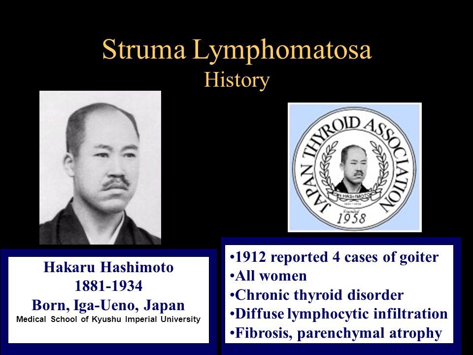 Hashimoto Thyroiditis History Autoimmune nature of this condition established in 1956, Roitt et al.
