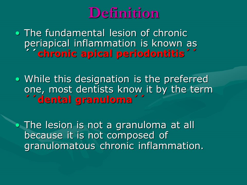 Etiology The etiology of apical periodontitis is an infection of the tissues in the root canal system and of the surrounding dentin, in some cases also of tissues outside the apical foramen or other portals of entryThe etiology of apical periodontitis is an infection of the tissues in the root canal system and of the surrounding dentin, in some cases also of tissues outside the apical foramen or other portals of entry Typically,the lesion is located at the root apex, but communications may exist at various levels along the root surface,and lesions may develop at lateral and furcal locationsTypically,the lesion is located at the root apex, but communications may exist at various levels along the root surface,and lesions may develop at lateral and furcal locations