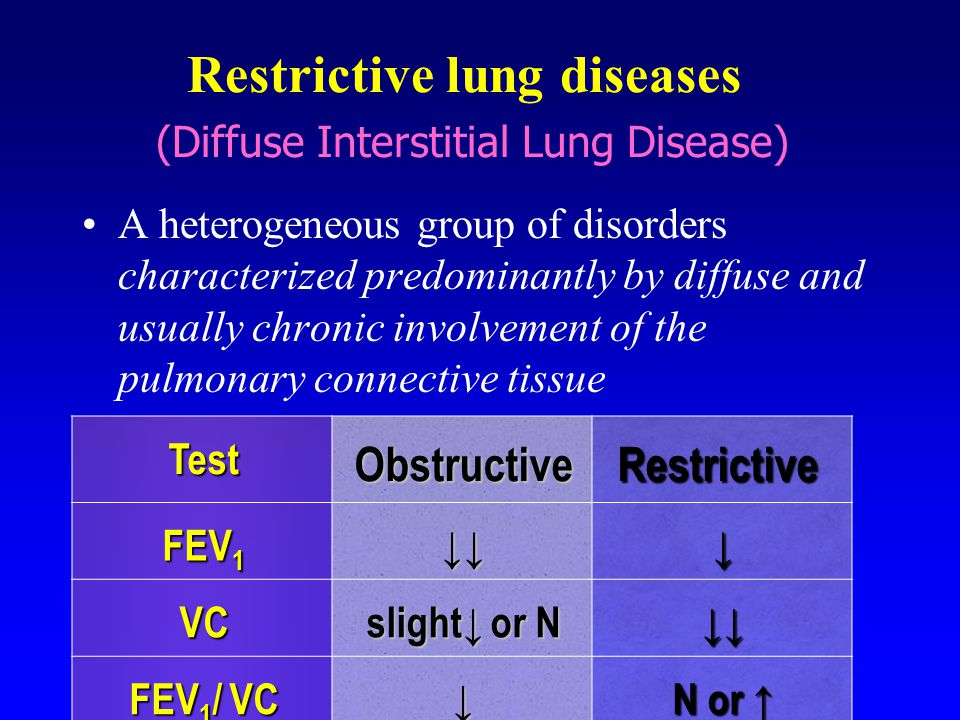 Restrictive lung diseases (Diffuse Interstitial Lung Disease) A heterogeneous group of disorders characterized predominantly by diffuse and usually ch