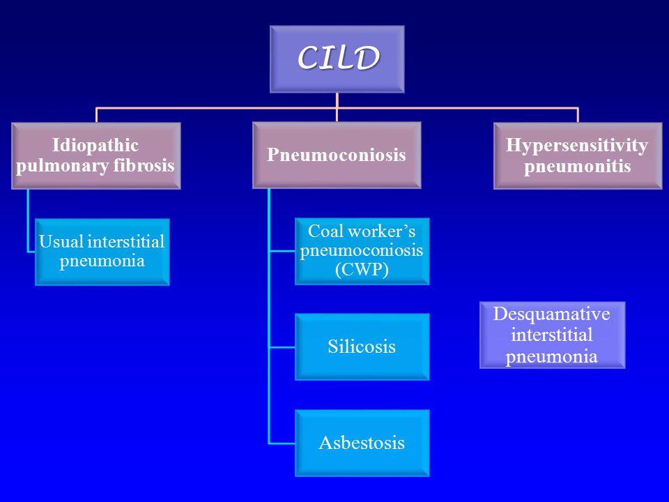 CILD Idiopathic pulmonary fibrosis Usual interstitial pneumonia Pneumoconiosis Coal worker's pneumoconiosis (CWP) Silicosis Asbestosis Hypersensitivit