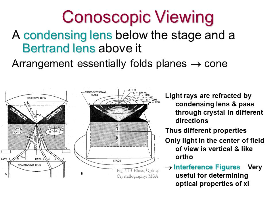 Conoscopic Viewing condensing len Bertrand lens A condensing lens below the stage and a Bertrand lens above it Arrangement essentially folds planes  cone Light rays are refracted by condensing lens & pass through crystal in different directions Thus different properties Only light in the center of field of view is vertical & like ortho Interference Figures  Interference Figures Very useful for determining optical properties of xl Fig 7-13 Bloss, Optical Crystallography, MSA