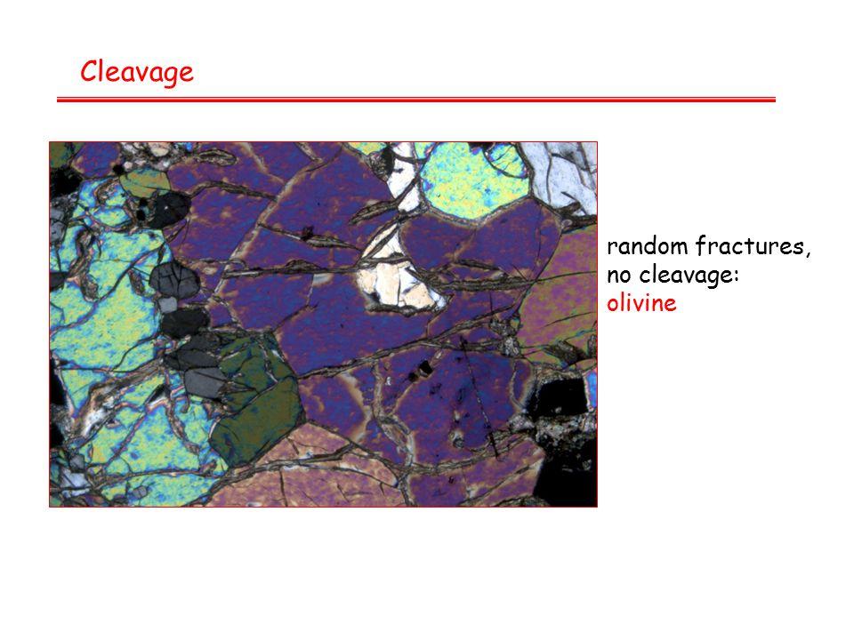 Cleavage random fractures, no cleavage: olivine