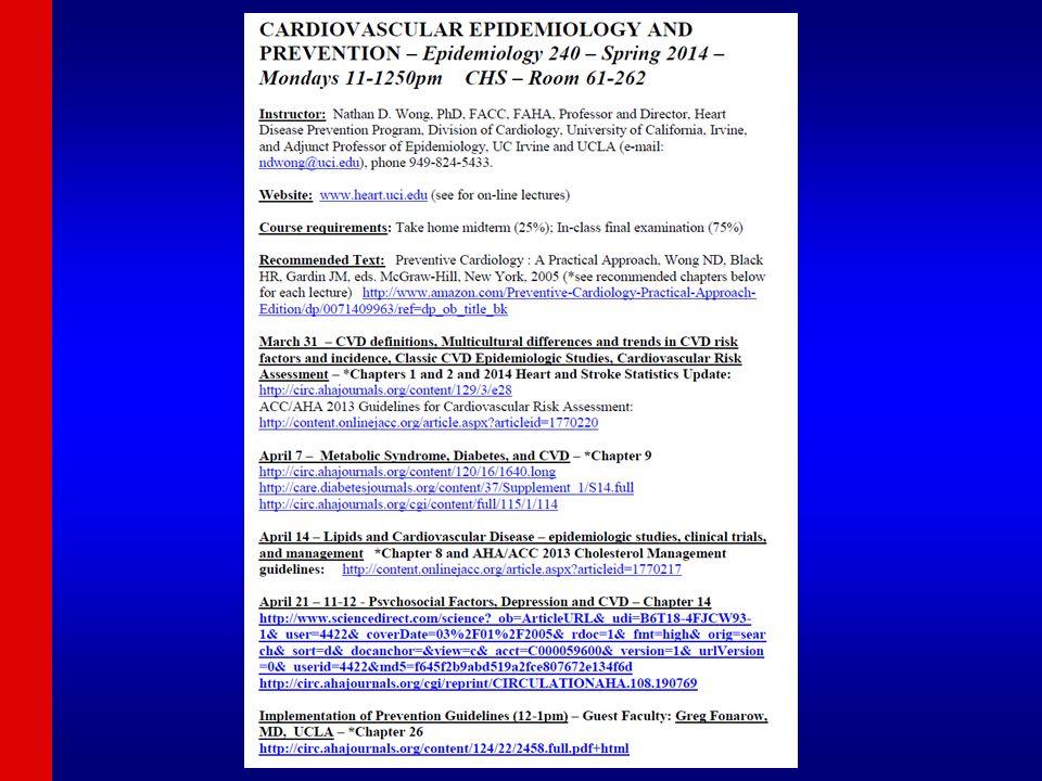 Concept of cardiovascular risk factors Kannel et al, Ann Intern Med 1961 Age, sex, hypertension, hyperlipidemia, smoking, diabetes, (family history), (obesity)