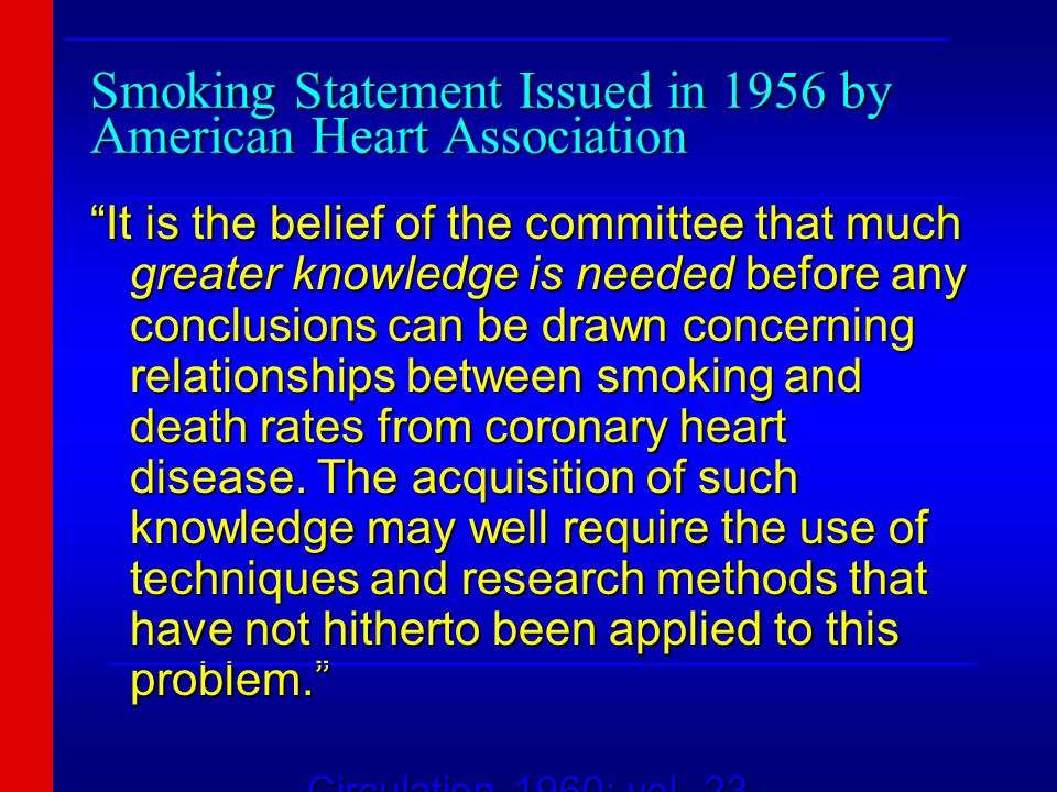 Smoking Statement Issued in 1956 by American Heart Association It is the belief of the committee that much greater knowledge is needed before any conclusions can be drawn concerning relationships between smoking and death rates from coronary heart disease.