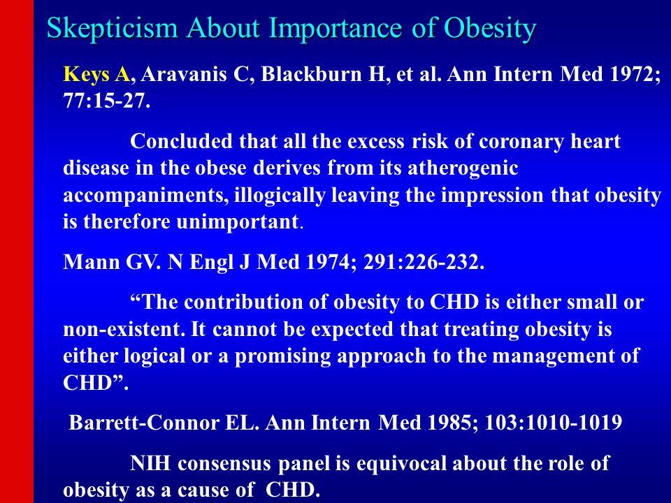 Skepticism About Importance of Obesity Keys A, Aravanis C, Blackburn H, et al. Ann Intern Med 1972; 77:15-27. Concluded that all the excess risk of co