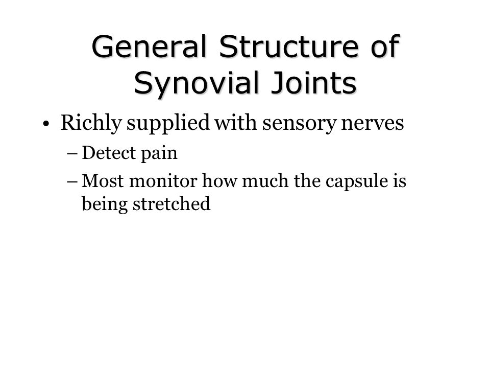 General Structure of Synovial Joints Richly supplied with sensory nerves –Detect pain –Most monitor how much the capsule is being stretched