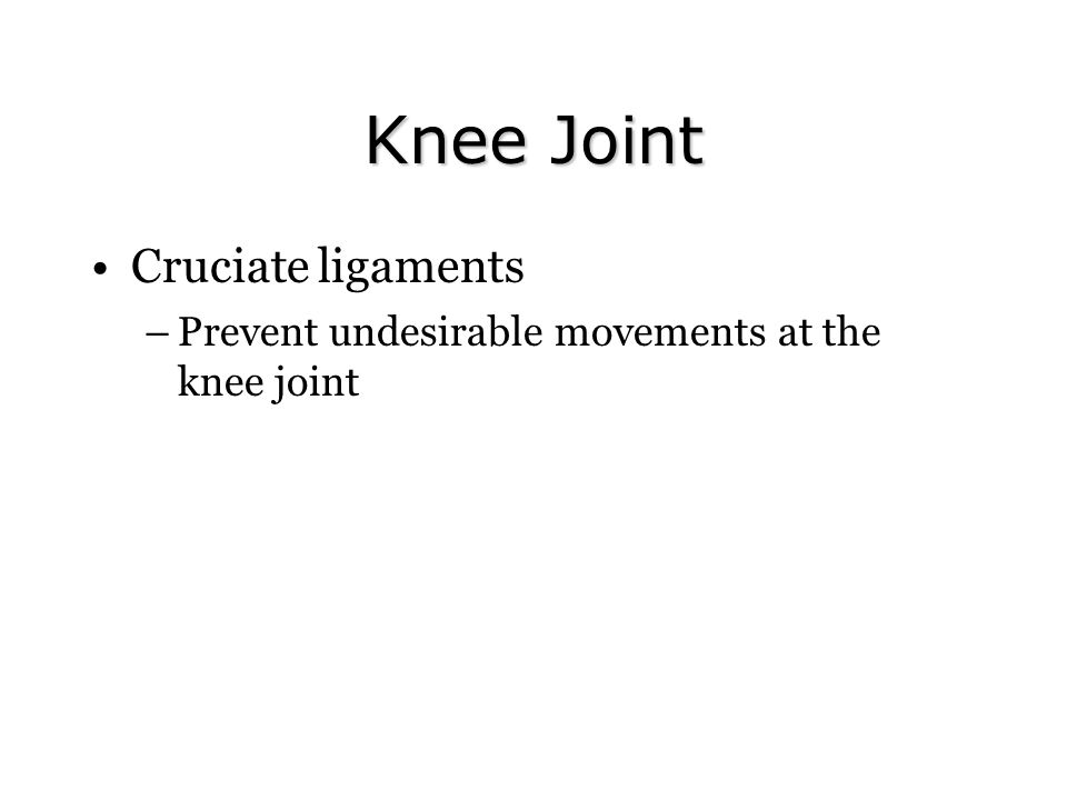 Knee Joint Cruciate ligaments –Prevent undesirable movements at the knee joint