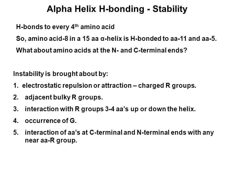 Alpha Helix H-bonding - Stability H-bonds to every 4 th amino acid So, amino acid-8 in a 15 aa α-helix is H-bonded to aa-11 and aa-5. What about amino