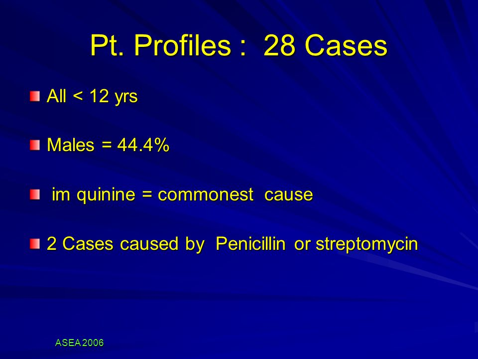 Pt. Profiles : 28 Cases All < 12 yrs Males = 44.4% im quinine = commonest cause im quinine = commonest cause 2 Cases caused by Penicillin or streptomy