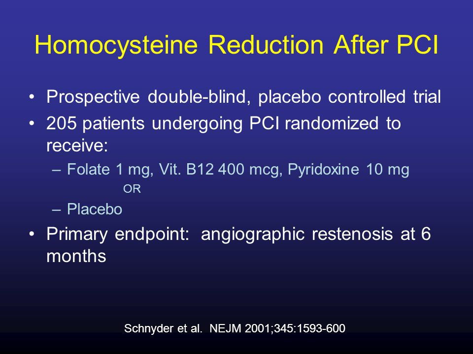 Homocysteine Reduction After PCI Prospective double-blind, placebo controlled trial 205 patients undergoing PCI randomized to receive: –Folate 1 mg, Vit.