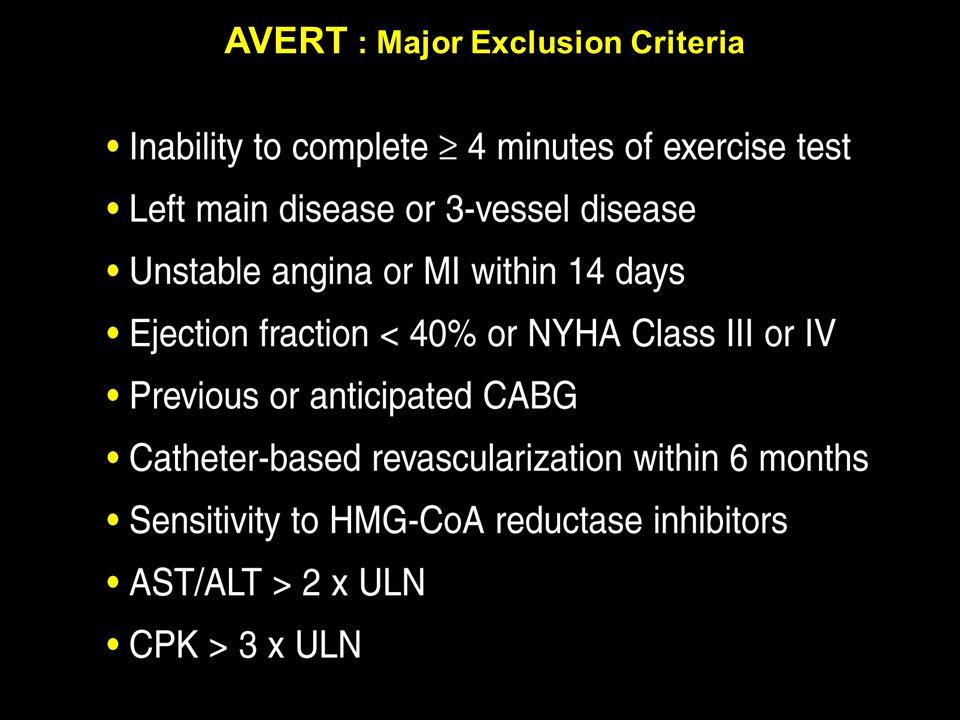 AVERT : Major Exclusion Criteria