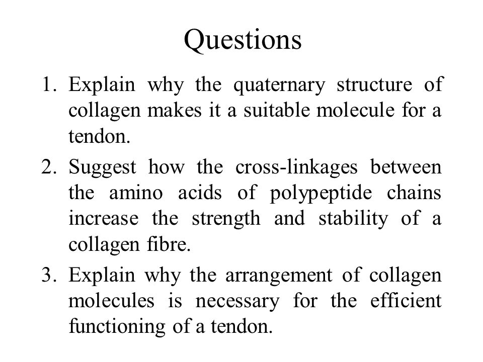 Questions 1.Explain why the quaternary structure of collagen makes it a suitable molecule for a tendon.