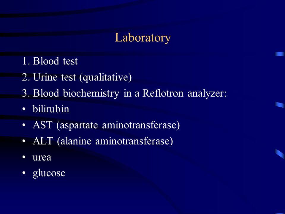 Laboratory 1. Blood test 2. Urine test (qualitative) 3.