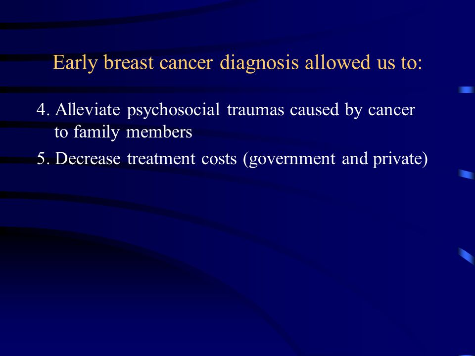 4. Alleviate psychosocial traumas caused by cancer to family members 5.