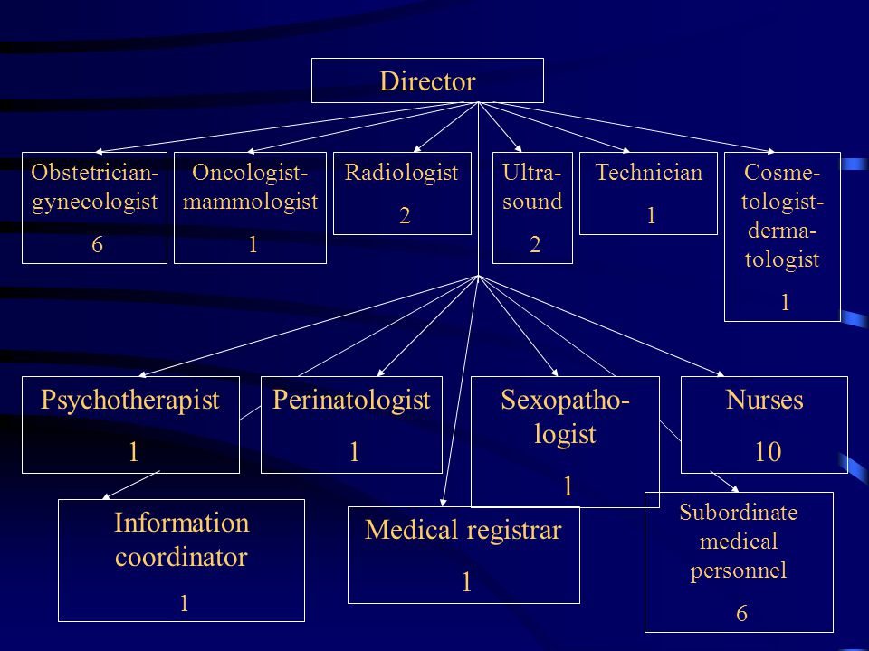 Director Ultra- sound 2 Technician 1 Cosme- tologist- derma- tologist 1 Radiologist 2 Obstetrician- gynecologist 6 Oncologist- mammologist 1 Psychotherapist 1 Perinatologist 1 Sexopatho- logist 1 Nurses 10 Information coordinator 1 Medical registrar 1 Subordinate medical personnel 6