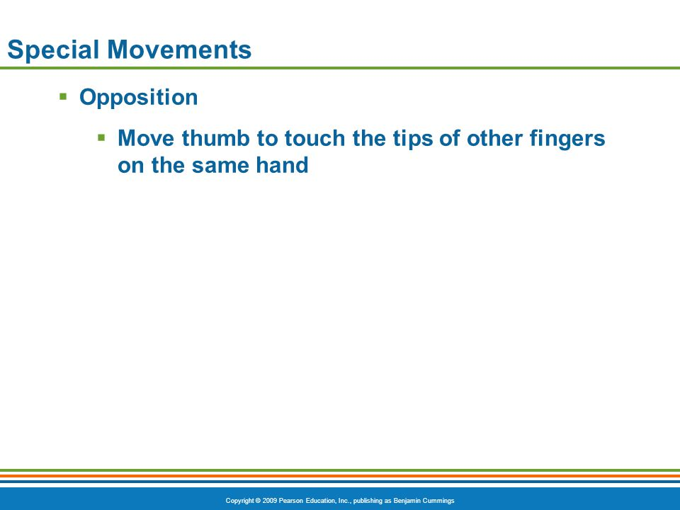 Copyright © 2009 Pearson Education, Inc., publishing as Benjamin Cummings Special Movements  Opposition  Move thumb to touch the tips of other finge