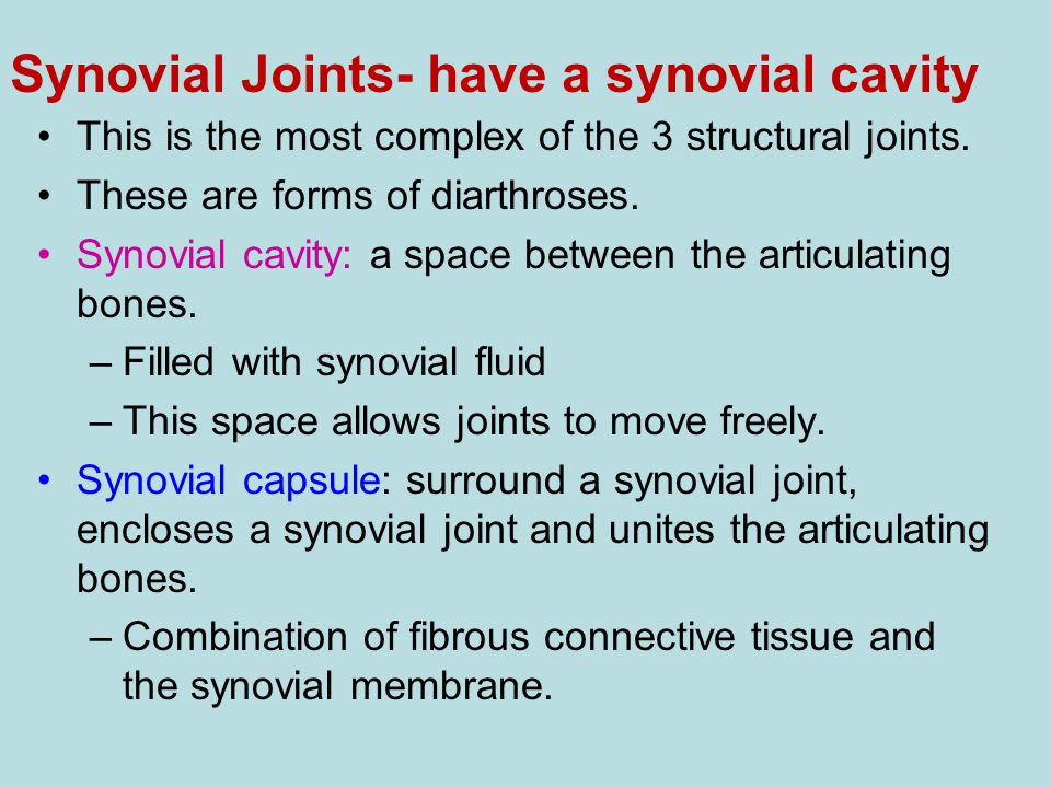 Synovial Joints- have a synovial cavity This is the most complex of the 3 structural joints. These are forms of diarthroses. Synovial cavity: a space