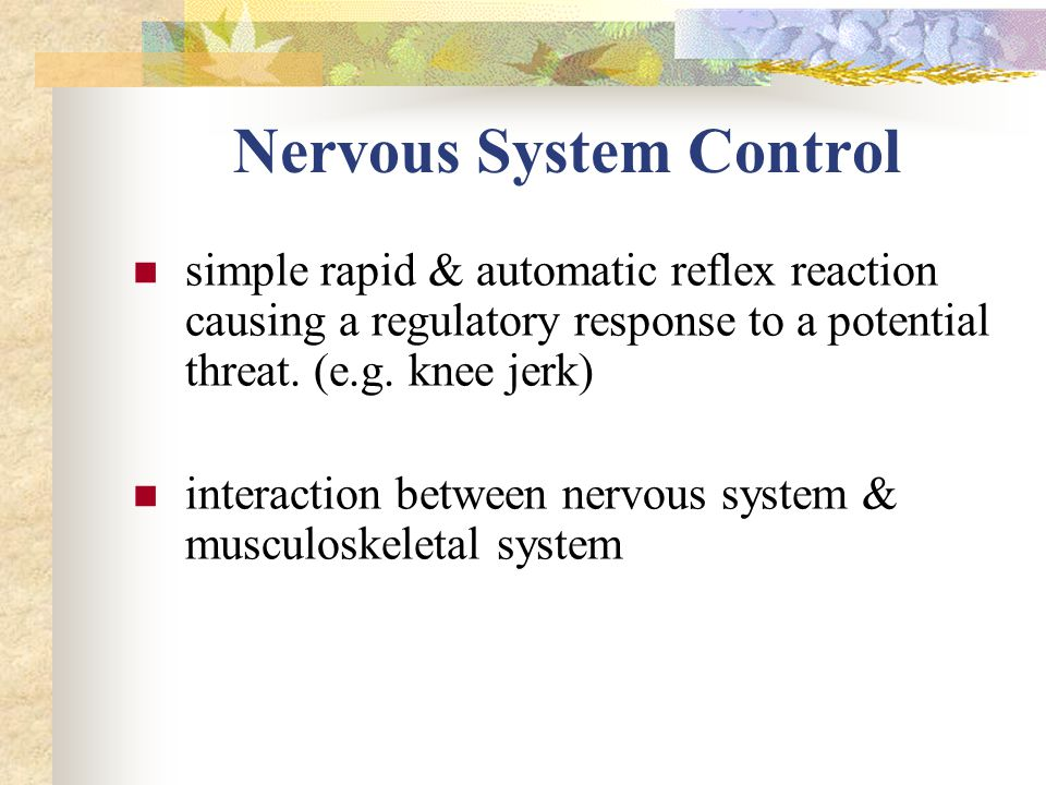 Nervous System Control simple rapid & automatic reflex reaction causing a regulatory response to a potential threat.