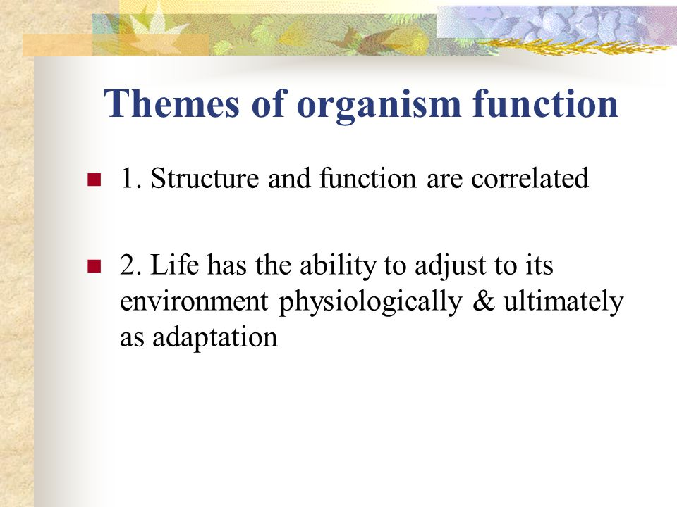 Themes of organism function 1. Structure and function are correlated 2. Life has the ability to adjust to its environment physiologically & ultimately