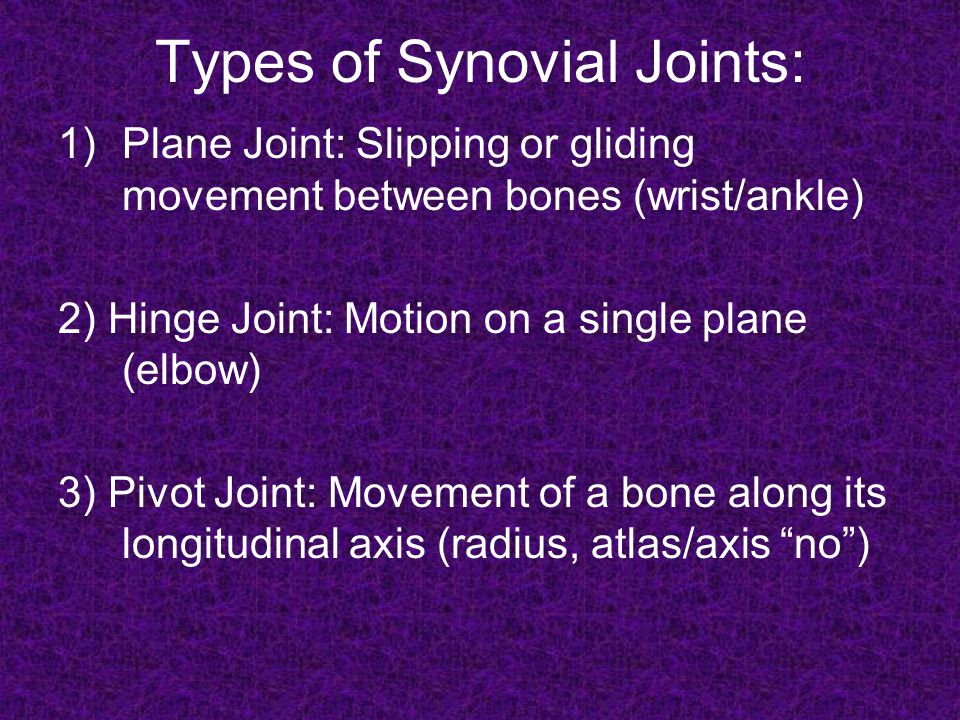 Types of Synovial Joints 4) Condyloid Joint: Oval surfaces (concave/convex) on two bones match (metacarpal/phalange joint-knuckle)