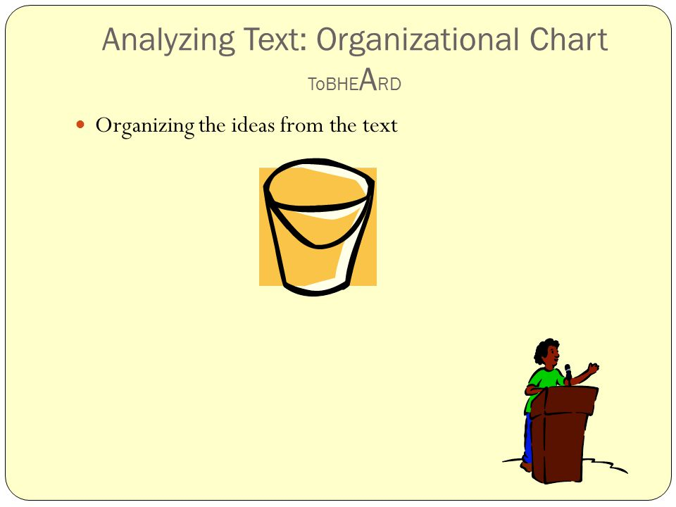 Analyzing Text: Organizational Chart ToBHE A RD Organizing the ideas from the text