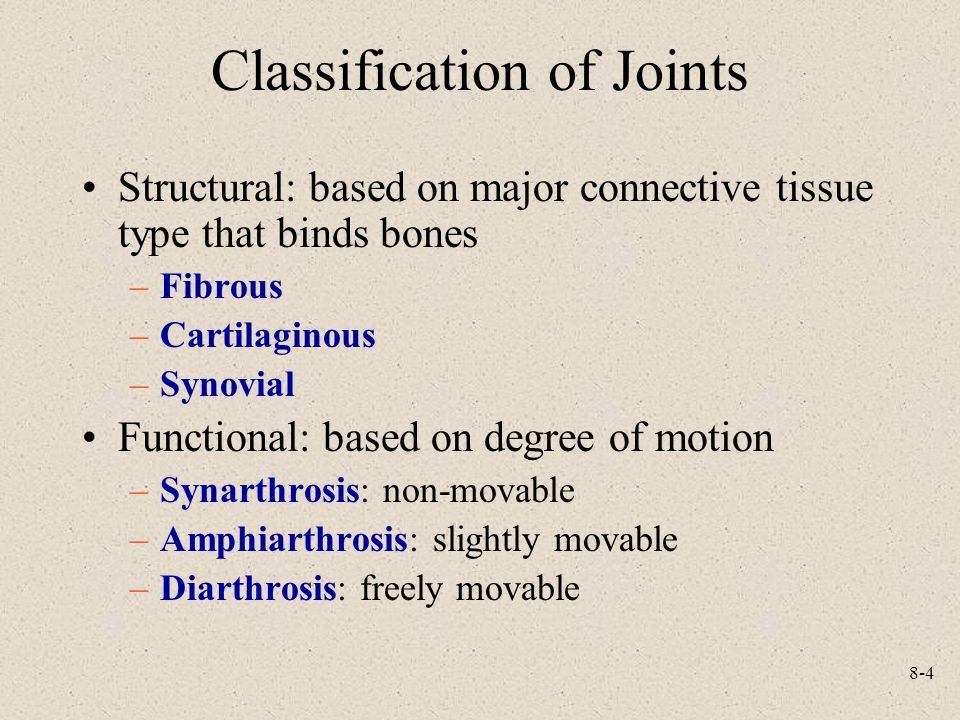 8-4 Classification of Joints Structural: based on major connective tissue type that binds bones –Fibrous –Cartilaginous –Synovial Functional: based on degree of motion –Synarthrosis: non-movable –Amphiarthrosis: slightly movable –Diarthrosis: freely movable