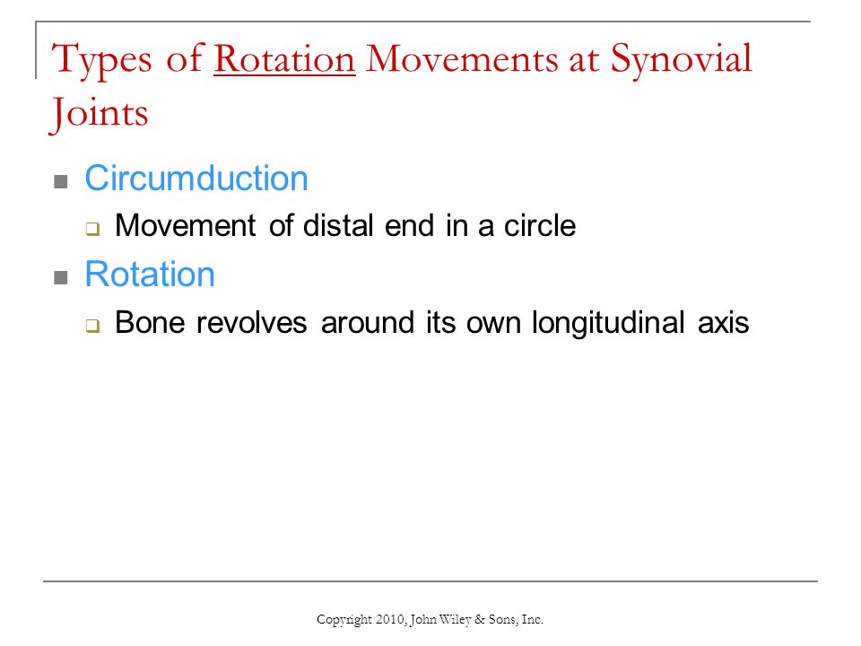 Copyright 2010, John Wiley & Sons, Inc. Types of Rotation Movements at Synovial Joints Circumduction  Movement of distal end in a circle Rotation  B