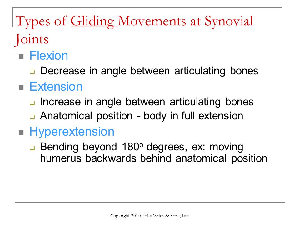 Copyright 2010, John Wiley & Sons, Inc. Types of Gliding Movements at Synovial Joints Flexion  Decrease in angle between articulating bones Extension