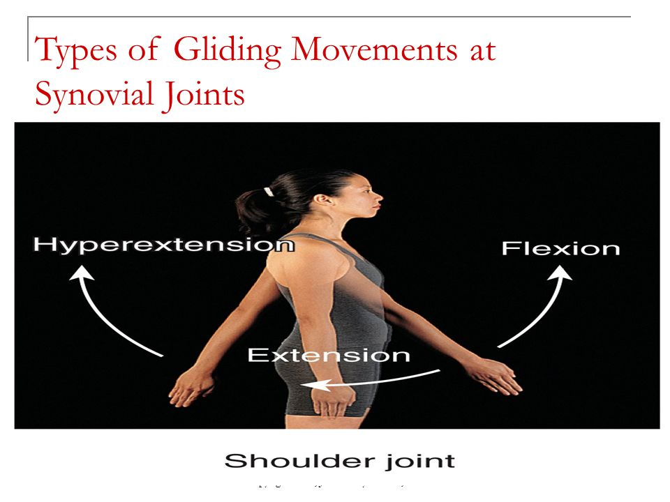Copyright 2010, John Wiley & Sons, Inc. Types of Gliding Movements at Synovial Joints